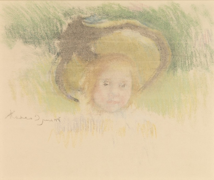 young girl with hat by Cassatt