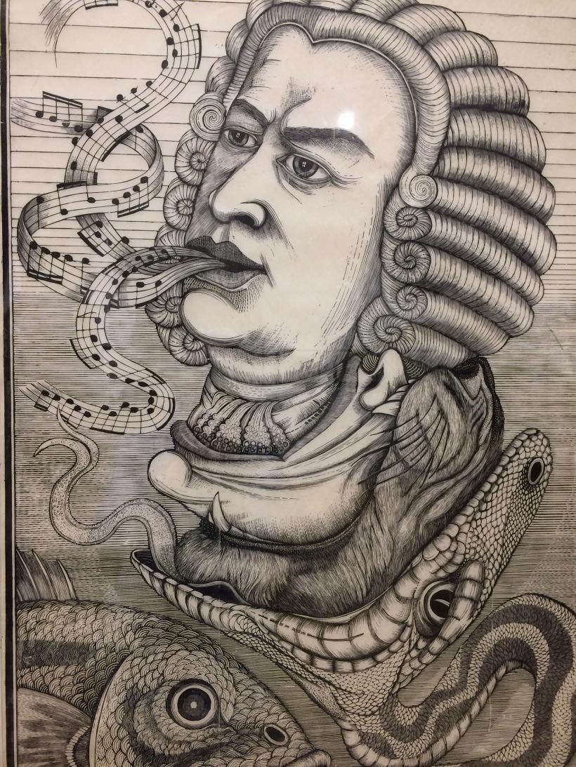 Bach Woodcut Print